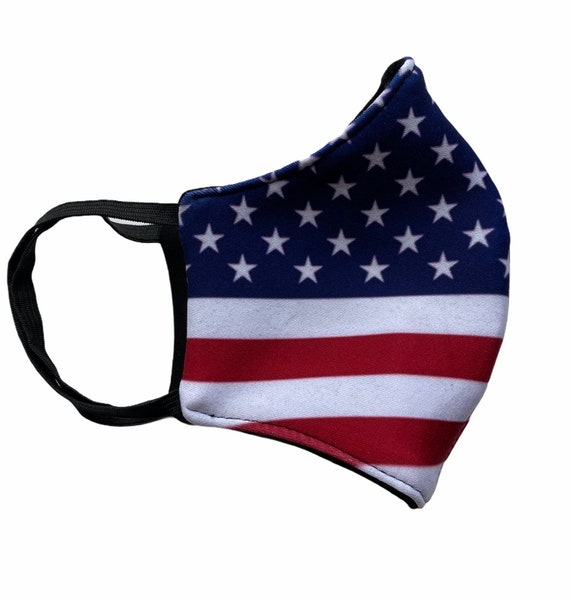 US American Flag Sublimation Print Face Mask for Adult With Filter Pocket, Washable, Reusable and Breathable Fabric With Elastic