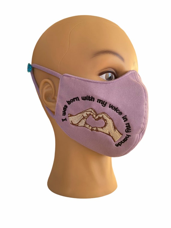 Hearing Impaired Embroidered Slogan Face Mask with Filter Pocket, Washable, Design of A Hand Formed as Heart, Hearing or Speech Disability