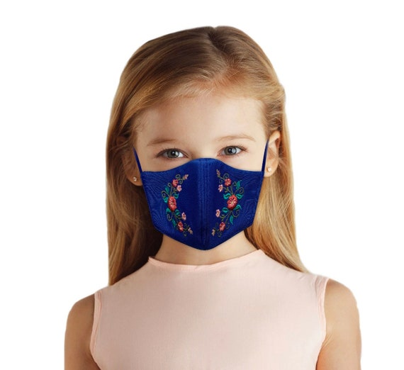 Kids Blue Floral Embroidered Face Mask With Filter Pocket, Reversible, Washable, Breathable Fabric, Back to School, Cute Elegant Kids Mask