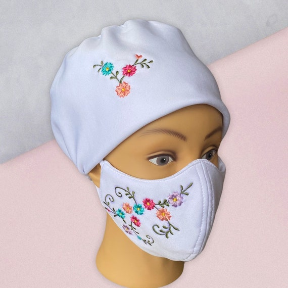 Embroidered Fashionable Hat and Face Mask Set, White Floral Stretchable washable Head gear or Bonnet and Face Cover, Face and Head Shield