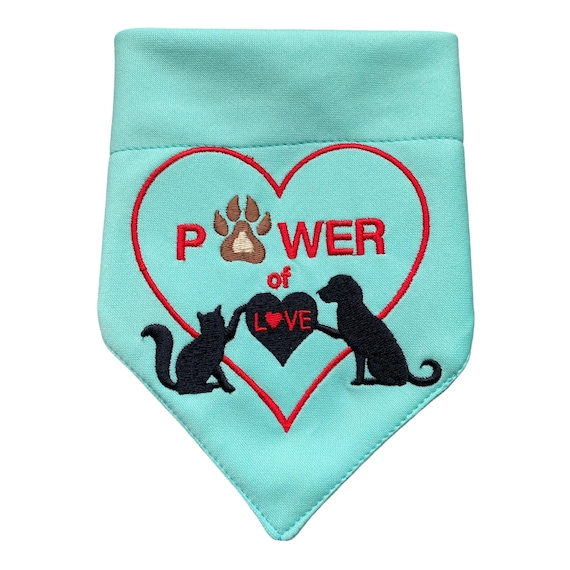 Embroidered Pet Bandanna, Cat and Dog Neckerchief, Over The Collar Scarf, Slide on Kerchief Hanky for Pet, Pawer of Love Embroidery Design