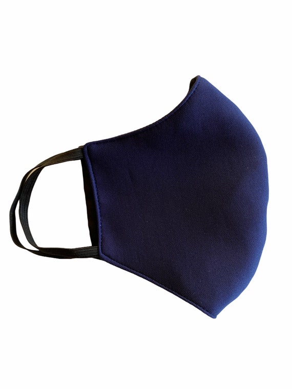 Adult Larger Size Face Mask, Washable, Breathable, Reusable, Navy Blue with Black Reversible Side, Full Face Coverage, Over the Ear Elastic