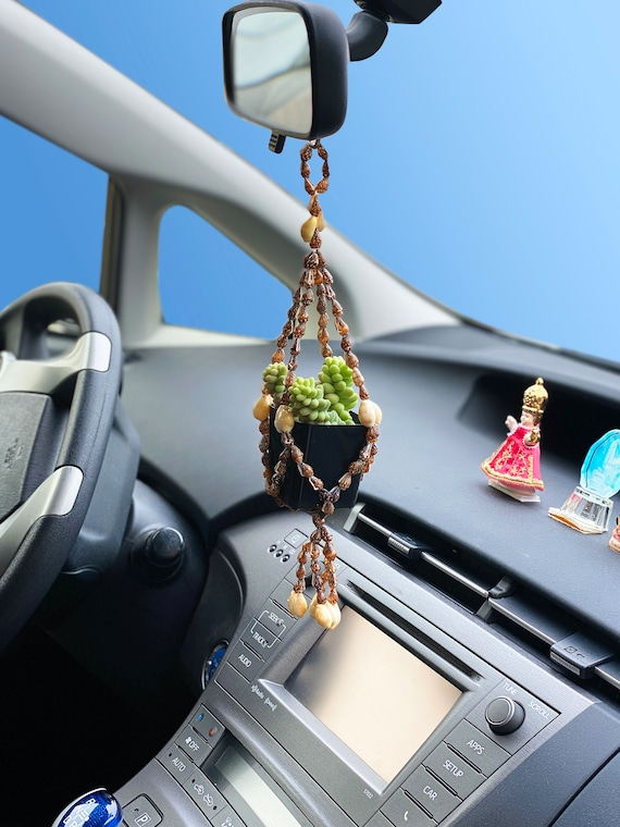 Rear View Mirror Seashell Hanging Succulent Planter, Car Plant Holder Macrame Inspired, RV Charms Accessories Handmade Mini Cowrie Shells