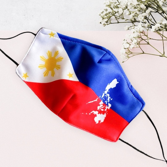 Philippine Flag Face Mask with Filter Pocket for Petite Adults and Kids, Adjustable Elastic, Nose Wire, Prints of Philippines Map