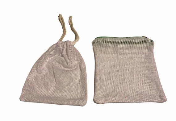 Small Laundry Mesh Bags for Face Mask, Mesh Pouch,Mesh Zipper Pouch, Two Pieces Mesh Tote Bags