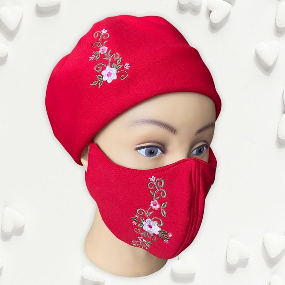 Embroidered Fashionable Hat and Face Masks Set, Red Floral Stretchable Washable Head Gear or Bonnet and Face Cover, Face and Head Shield