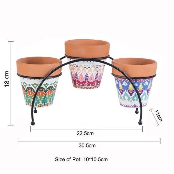 Small Unique Terra Cotta Clay Desk Planter Set With Metal Stand And Drainage, Cute Succulent Cactus Herb Pots, Windowsill Office planters