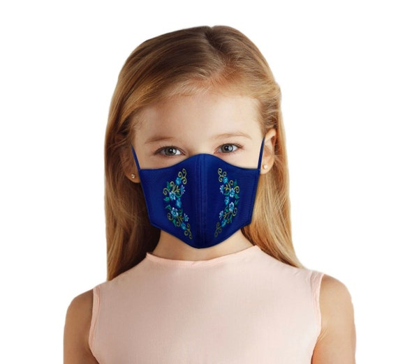 Embroidered Face Mask for Girls Ages 4-10, Cute back to school outfit for spring or summer, elegant floral embroidery, filter pocket