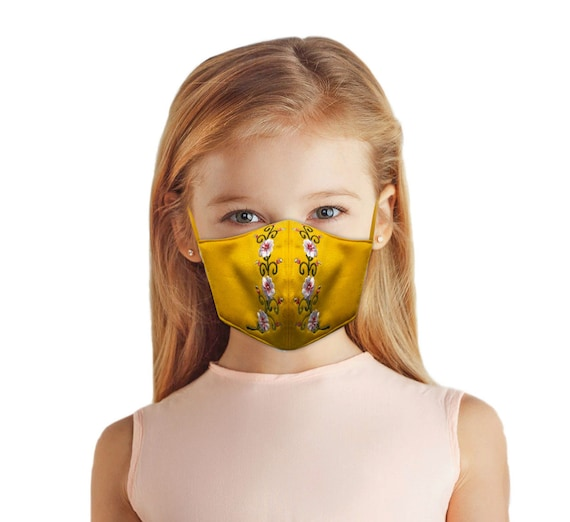 Yellow Floral Embroidered Face Mask, School Girls and Adult Women, Linen Neoprene Cloth Fabric, Filter Pocket, Reversible, Washable,