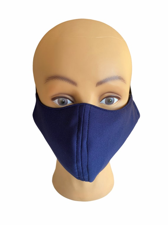 Large Adult Size Face Mask with Filter Pocket, Solid Plain Color, Breathable Fabric, Washable, Reusable, Full Face Coverage, Simple