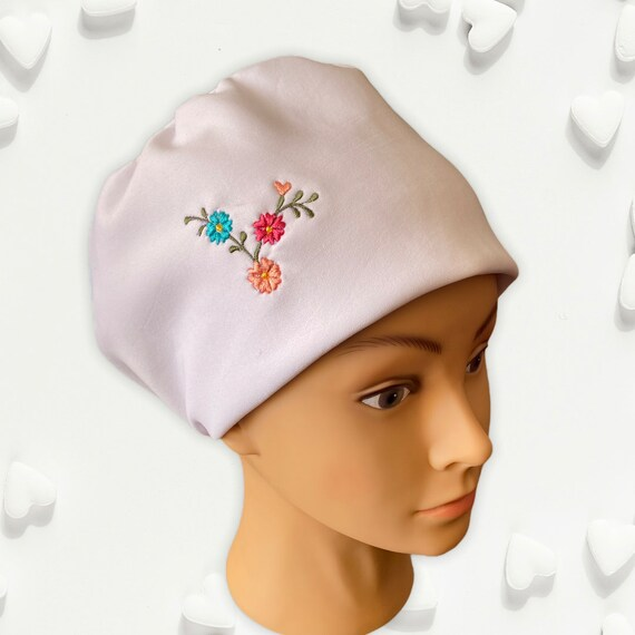 White Embroidered Bouffant Scrub Hat, Medical Student Gift, Surgical Cap for Women With Floral Embroidery, Chemo Hat, Dentist Scrub Hat