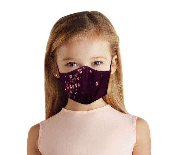 Cherry Blossom Floral Embroidered Face Mask For Girls Ages 4-10, Reversible, With Filter Pocket, Washable, Summer Back To School Outfit