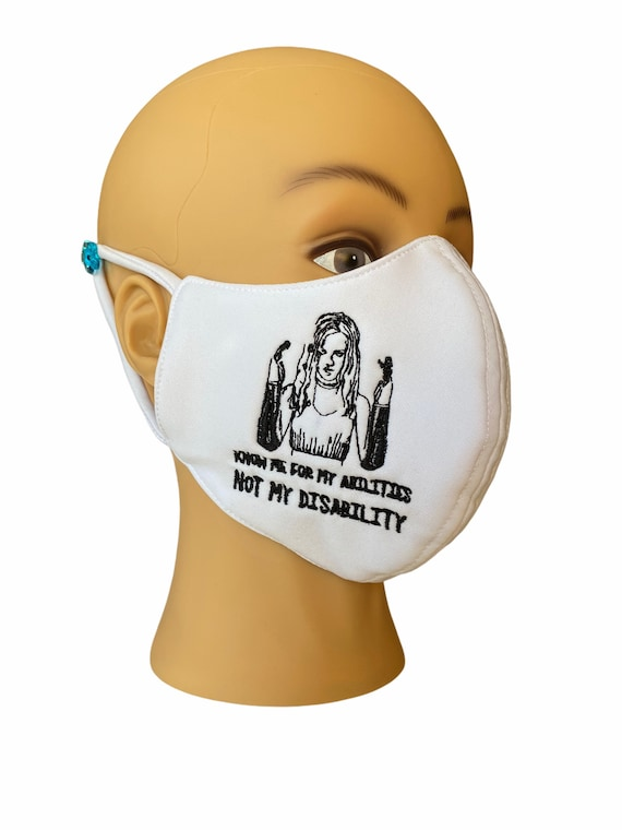 Embroidered Face Mask with Filter Pocket, Inspirational Slogan of Amputees, Hand Prosthesis Embroidery, Reversible White Color, Adult Size