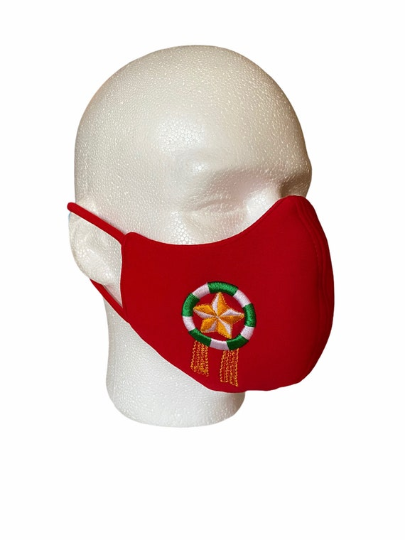 Christmas Lantern Embroidered Philippine Face Mask, Adult Size Soft Fabric with Filter Pocket, Parol Emblem, Holiday Face Cover