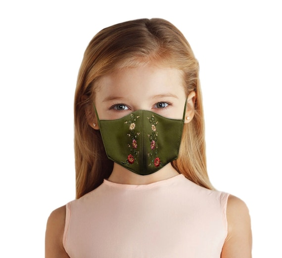 Kids Embroidered Face Mask With Filter Pocket, Reversible, Summer Travel Accessory, Back To School Floral Outfit for Girls Ages 4-10,