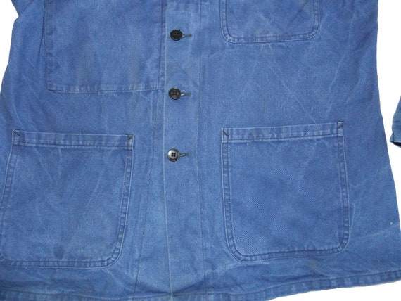 French worker blue jacket French workwear chore c… - image 3