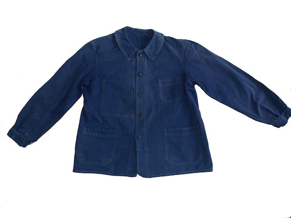 Blue french vintage worker work jacket 60 French d