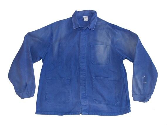 French vintage worker blue jacket 70-80 French dru