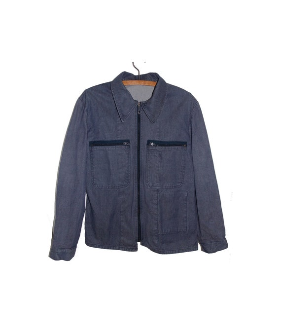 Blue military jacket of vintage french worker work