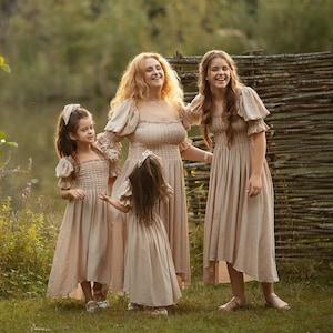 Cottagecore Princess Dress Girls Clothing Toddler Baby Girl Vintage Medieval Dress Clothes Beige Silk Renaissance Formal Fantasy Dress