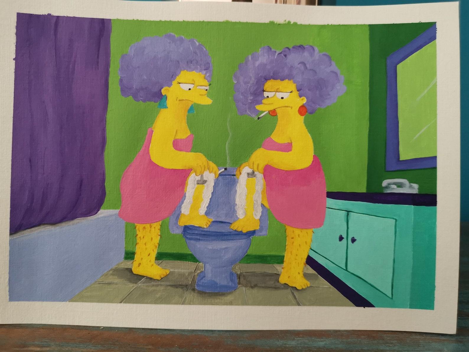 Patty und Selma Rasieren handbemalte Szene die Simpsons | Etsy