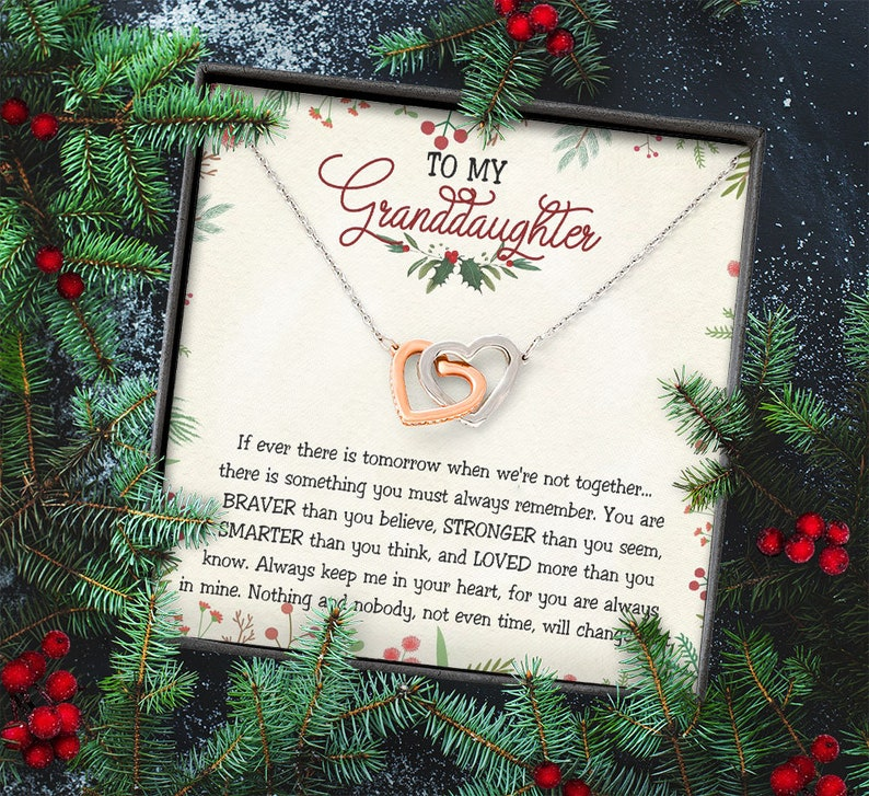 Granddaughter Necklace Gifts To My Granddaughter Message Card Interlocking Hearts Christmas Gift Necklace For Granddaughter BV316