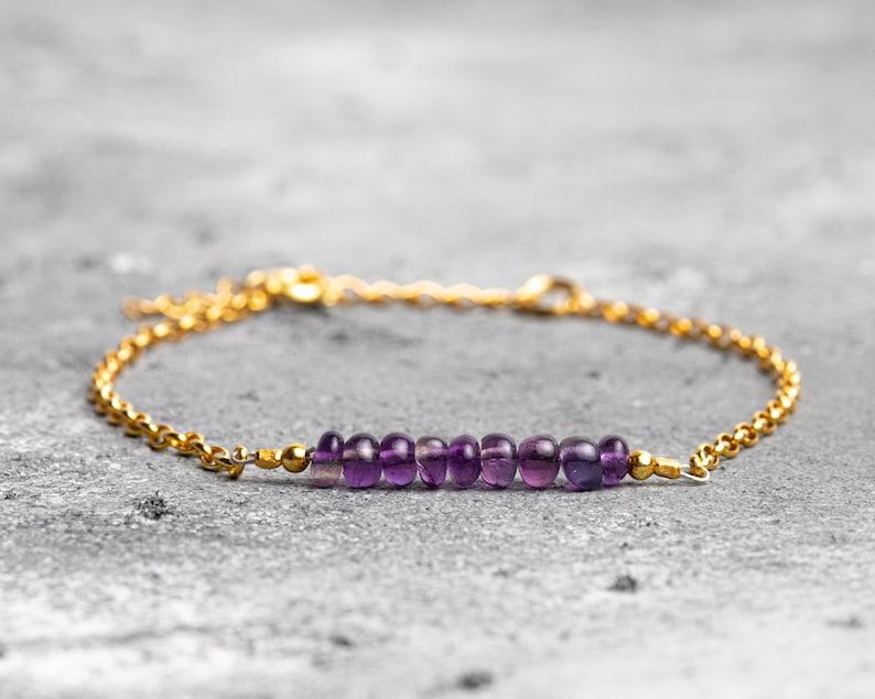 Genuine Amethyst Purple Amethyst Delicate Bracelet February Birthstone Gift for Women Birthday Mom Anniversary Silver Rose Gold Jewelry