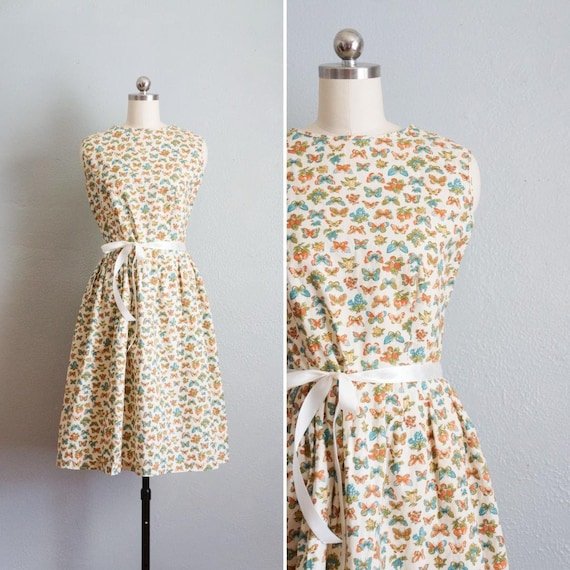 1950s Butterfly Print DIY Full Skirt Cotton Dress