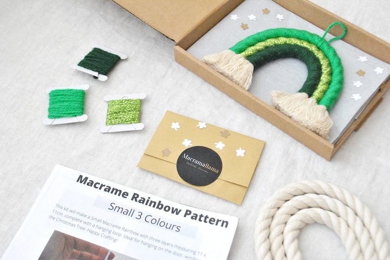 Make a Macrame Hanging Activity Box Adult Beginner Craft Kit Letterbox Friendship Gift UK Luck of the Irish DIY Green Rainbow Craft Kit