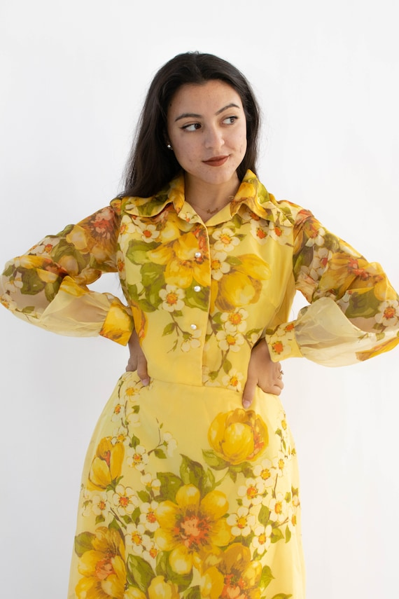 Vintage 70's Yellow Floral Hostess Dress With Shee