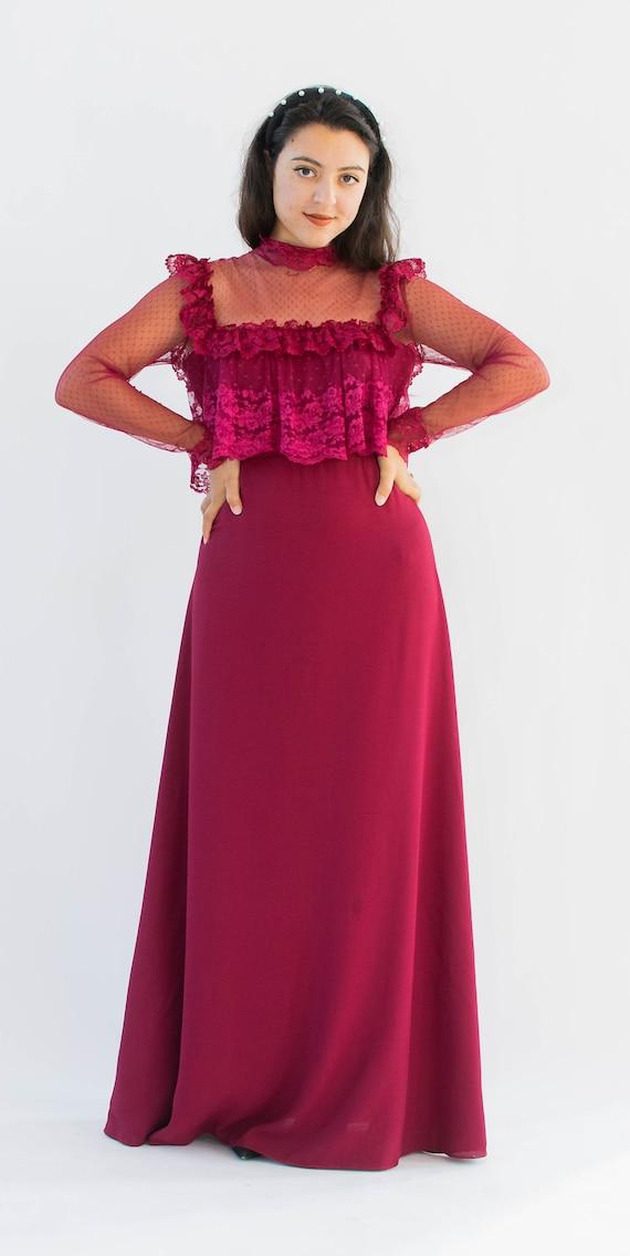 70's Vintage Formal Prairie Style Prom Dress