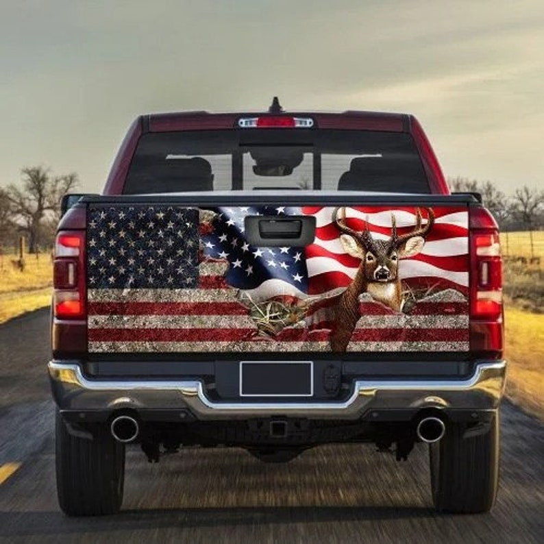 Gearhuman – Deer Hunting  American Flag Truck Tailgate Decal Sticker Wrap