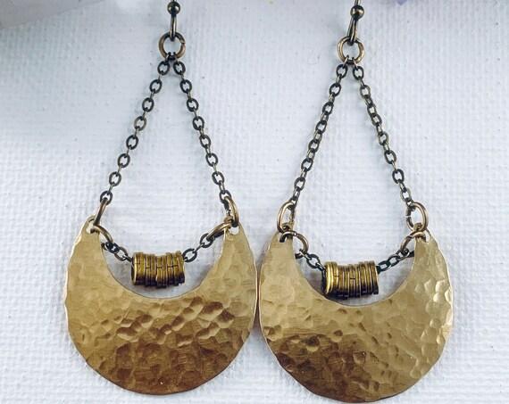 Alynda Earring | Hammered Brass Moon Shape Earrings, Bohemian Earrings, Statement Earrings, Lightweight Earrings