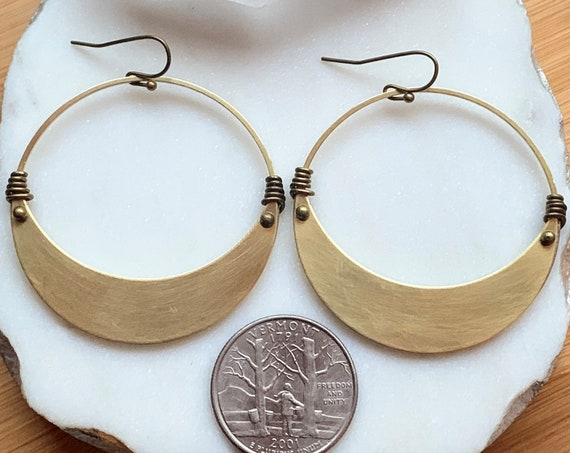 Rue Earring | Textured Brass Crescent Moon Hoop with Brass Ball Pin Wire Detailing