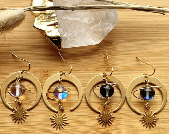 Ceres Earrings | Brass Crescent Moon and Starburst Dangles with Gold Plated Wired Planet Bead
