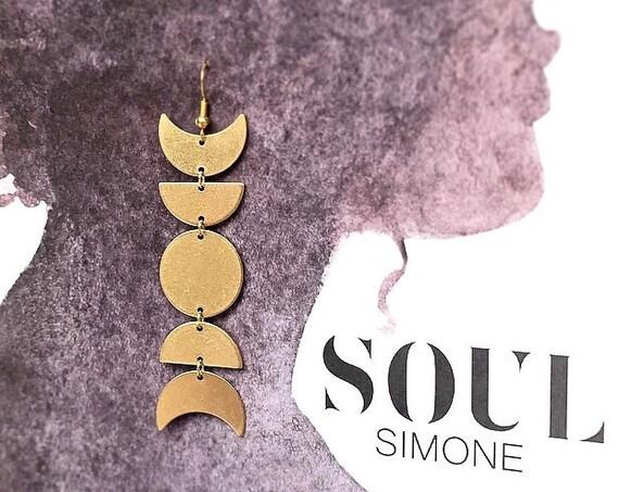 Simone Earring | Raw Turkish Brass Earrings, Big Brass Moon Phase Earrings, Statement Earrings, Bohemian Earrings, Unique Gift, Gift for Her
