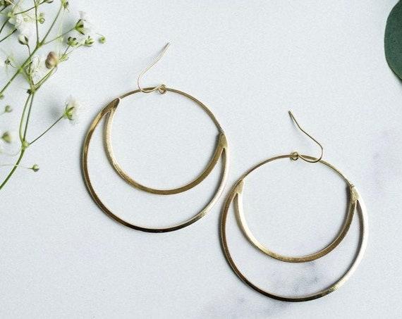 Mahina Earrings | Brass Crescent Moon Statement Hoops