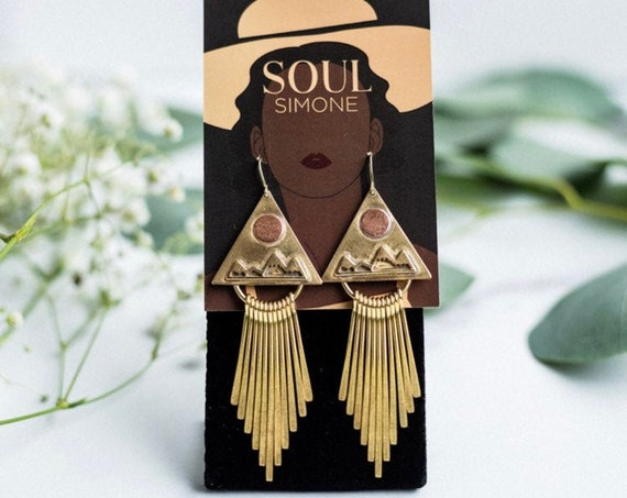 Cassidy Earrings | Solid brass fringe dangles featuring mountains and copper moons, handmade bohemian earrings