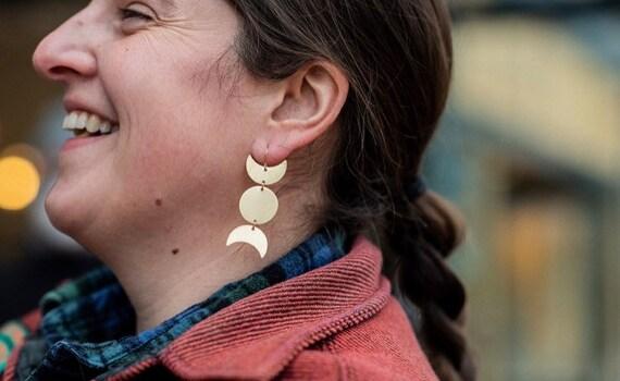 Nina Earring | Raw Turkish Brass Earrings, Brass Moon Phase Earrings, Statement Earrings, Bohemian Earrings, Unique Gifts, Gift for Her