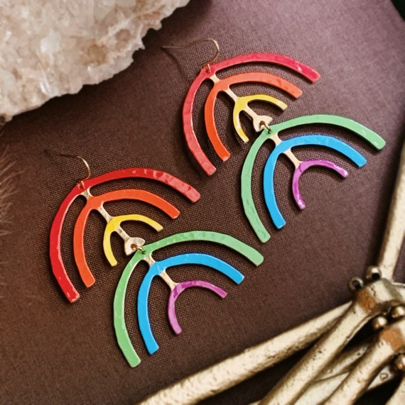 Iris Earrings | Brass Rainbow Dangles Finished with Oil Based Paint and Enamel