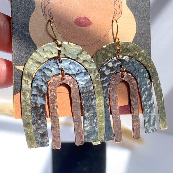 Tarana Earring | Brass Arch Earrings, Rainbow Earrings, Lightweight Earrings, Statement Earrings, Geometric Earrings, Unique Gift for Her