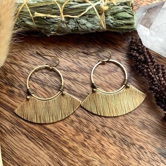 Dafne Earring | Tribal Brass Fan Earrings