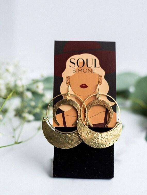 Mariah Earring | Brass Crescent & Hoop Statement Earrings