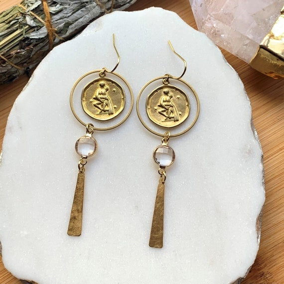 Zodiac Dangles in Brass with Small Faceted Lucite Bead | Astrological Horoscope Birth Sign Earrings