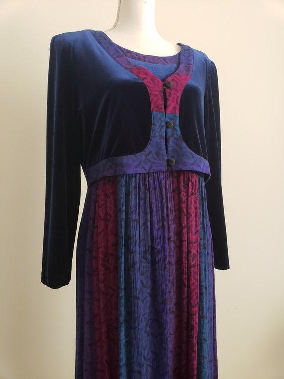 Vintage 1990s Karin Stevens Maxi Dress With Attac… - image 1