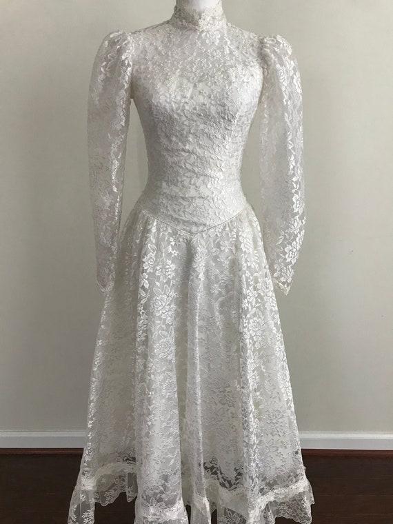 1980's ILGWU Gunne Sax Style White Lace Beaded Wed