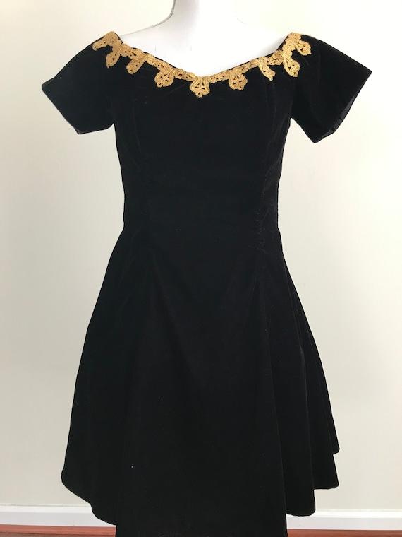 90s RAMPAGE Black Velvet and Gold Trim Circle Dres