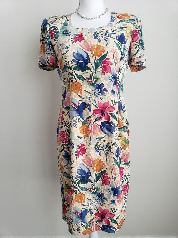 Vintage Maggy London Flower Dress, 100% Silk Flora