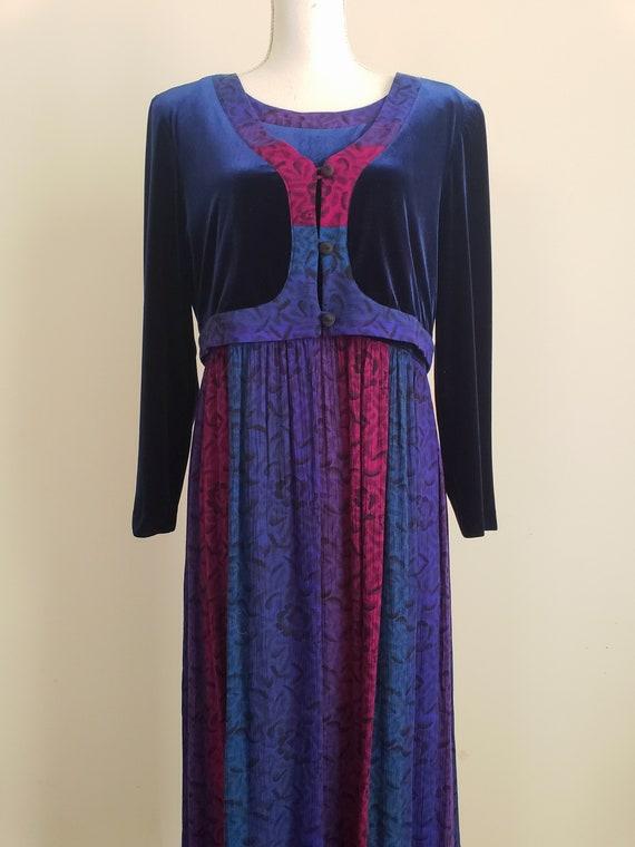 Vintage 1990s Karin Stevens Maxi Dress With Attac… - image 2