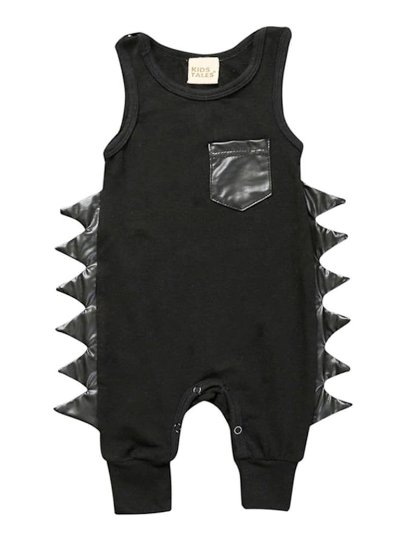 Black Dino Baby Romper with Faux Leather Dino Spikes